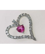 Vintage PINK and WHITE Cubic Zirconia HEART Pendant in Sterling Silver - $38.00
