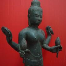Vintage Antique Khmer Angkor Buddha Statue Brass Cambodian Fingure of UMA DEVI  - $1,119.00