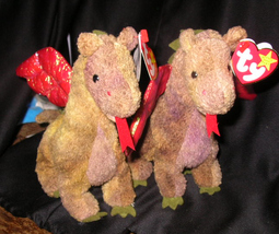 PAIR BEST OFFER TY BEANIE BABY 1998 SCORCH The DRAGON # 411 & #461 - $49.99
