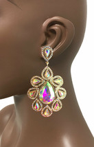 """3.75"""" Long Oversized AB Crystals Clip On Earrings Drag Queen Pageant, Bridal - $24.70"""