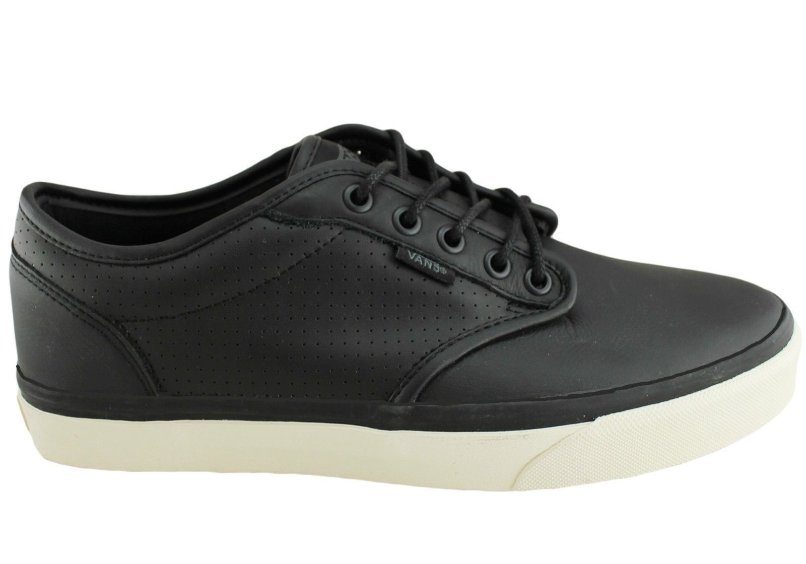 Primary image for VANS Atwood (Perf) Black/Antique Leather Skate Shoes Men's 6.5 Women's 8