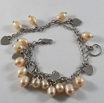 .925 STERLING SILVER BRACELET WITH ROSE PEARLS AND HEARTS PENDANT