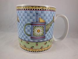 Watering Can Coffee Mug Cup Stoneware 1999 Art By Debbie Mumm Sakura - $6.92