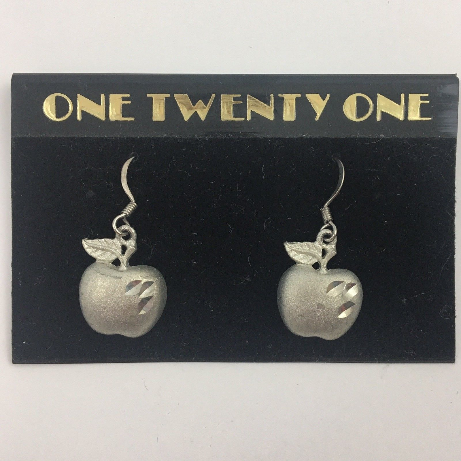 Primary image for Vintage Dangle Apple Earrings Silver Tone Dainty Etched NOS 90s Teacher Jewelry
