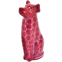 Vaneal Group Hand Carved Kisii Soapstone Sitting Red Puppy Dog Figurine Kenya image 2