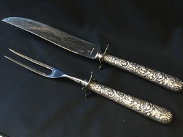 "Antique Sterling Silver Carving Set Floral Pattern STAMPED 10.5"" - $149.00"