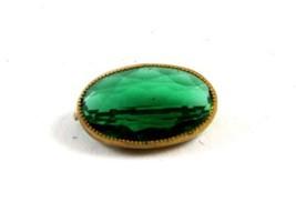 Vintage Green Goldtone Brooch Unmarked 101614 - $24.74