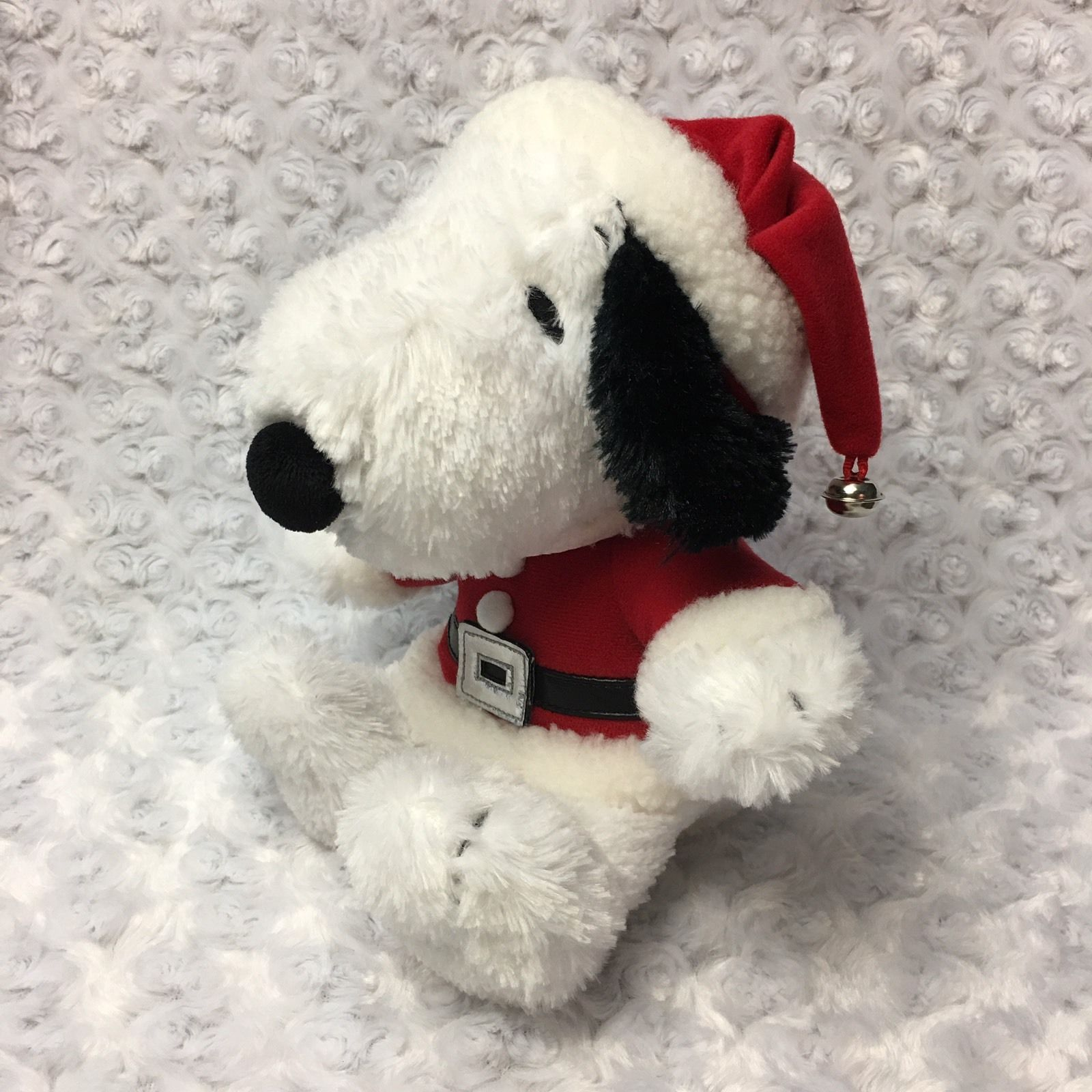 Snoopy Peanuts Hallmark Medium Christmas Holiday Stuffed Plush as Santa Bell Hat