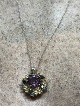 Vintage Mixed Gemstones Choker Necklace 925 Sterling Silver - $122.79