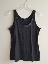 GAP Women's Embellished Tank Top, 100% Pima Cotton, Black, Solid, Size M, NWHT - $20.24