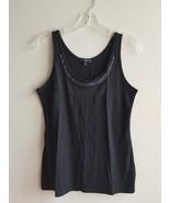 GAP Women's Embellished Tank Top, 100% Pima Cotton, Black, Solid, Size M... - $19.23