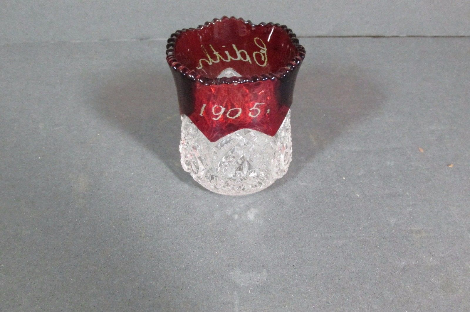 Primary image for 1905 Toothpick Holder Ruby Flash & Pressed, EDITH, Free Shipping