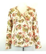 J. JILL Size  S Lightweight Cream Floral Surplice Sweater - $16.99