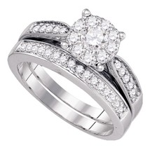 14kt White Gold Round Diamond Bridal Wedding Engagement Ring Band Set 3/4 Ctw - £873.03 GBP
