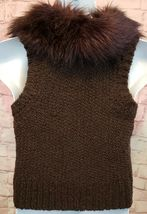 Ann Taylor Loft Womens Sweater Vest Alpaca/Mohair w/ Faux Fur Collar Brown Sz M image 4