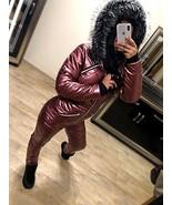 Red Wine Skisuit Snowsuit Ski Anzug Suit Shiny Glanz Nylon Jumpsuit Winter - $149.00