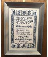 Blue Dutch Mother Cross Stitch Sampler Framed - $70.13