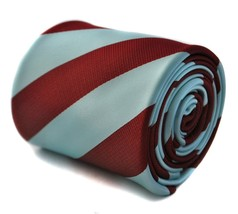 Frederick Thomas Designer Mens Tie - Light Blue and Maroon - Repp Club S... - $18.23