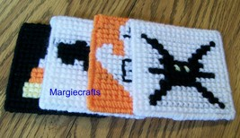 Halloween Coasters, Plastic Canvas, Handmade, Cross Stitch, Square Coasters - $15.00+