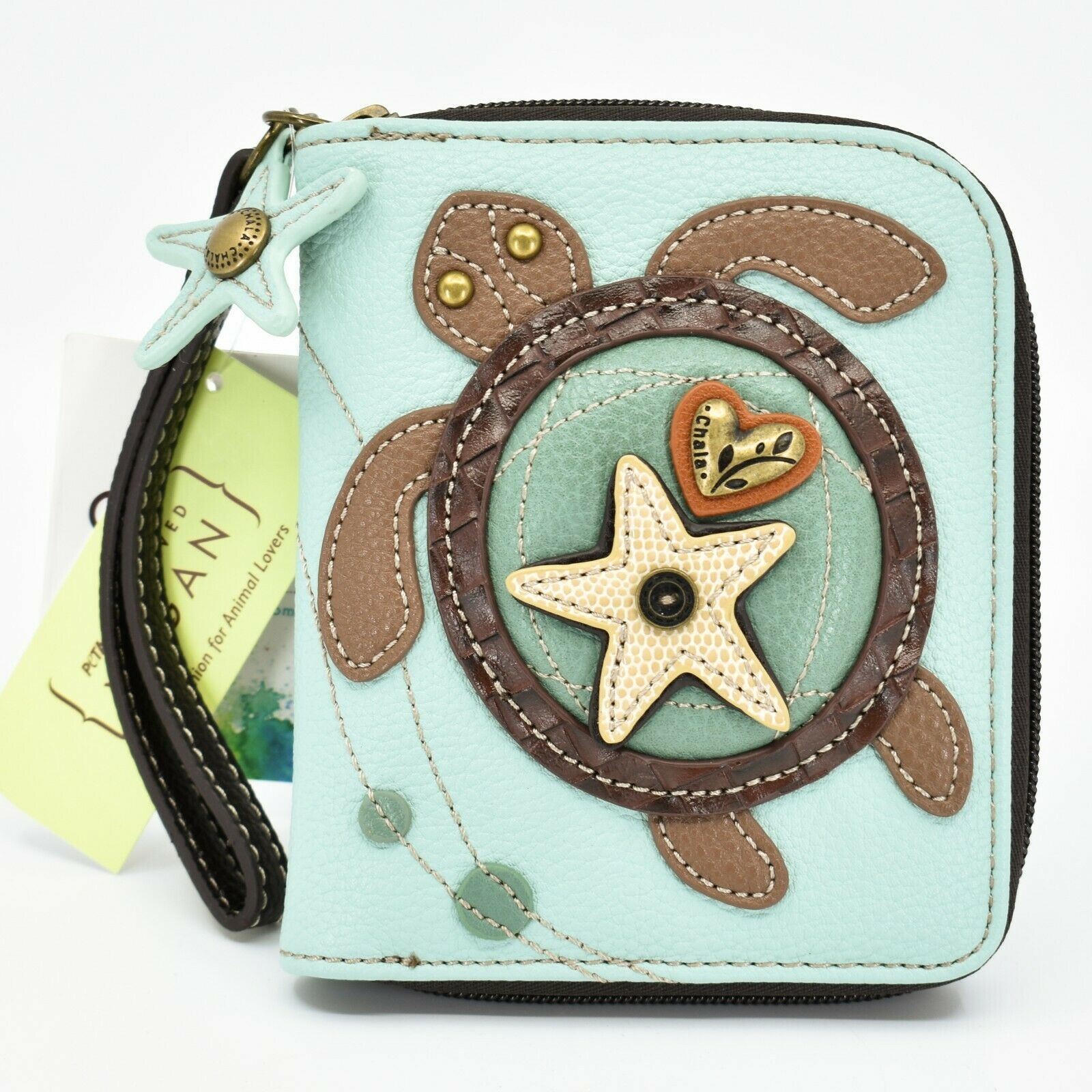 Chala Handbags Faux Leather Whimsical Sea Turtle Teal Zip Around Wristlet Wallet