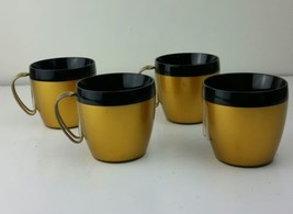 Thermo Serv Insulated Black and Gold Coffee Cups Mugs Set of 4 vintage - $21.49