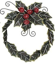 Christmas Holiday Crafted Metal Holly Leaves Wreath with jingle bells 16... - $20.53