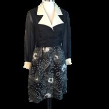 Vtg Alfred Shaheen Op Art Black White Floral Shirt Dress Notch Collar M/L - $63.86