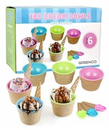 Vibrant Colors Ice Cream Dessert Bowls and Spoons Set of 6 - $19.99