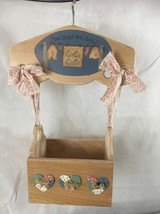 "Wood Hanging Clothes Pin Holder Box Home Made ""Mom Hangs Out Here!"" - £7.44 GBP"