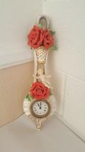 Vintage Louis Pierlot Glass Clock  Made In Germany Ceramic Cherub Red Roses - $40.09