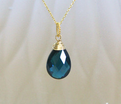 London Blue Wire Wrapped Gem Briolette Pendant 14K Yellow Gold Vermeil  ... - $47.66