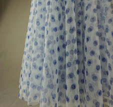 Polka Dot Tulle Midi Skirt High Waisted A-line Tulle Tutu Skirt Blue Dotted image 3