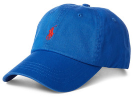 NEW MENS POLO RALPH LAUREN BLUE COTTON CHINO BASEBALL CAP HAT ONE SIZE - $24.74