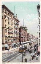 Main Street Streetcars Springfield Massachusetts 1910c Phostint postcard - $6.93