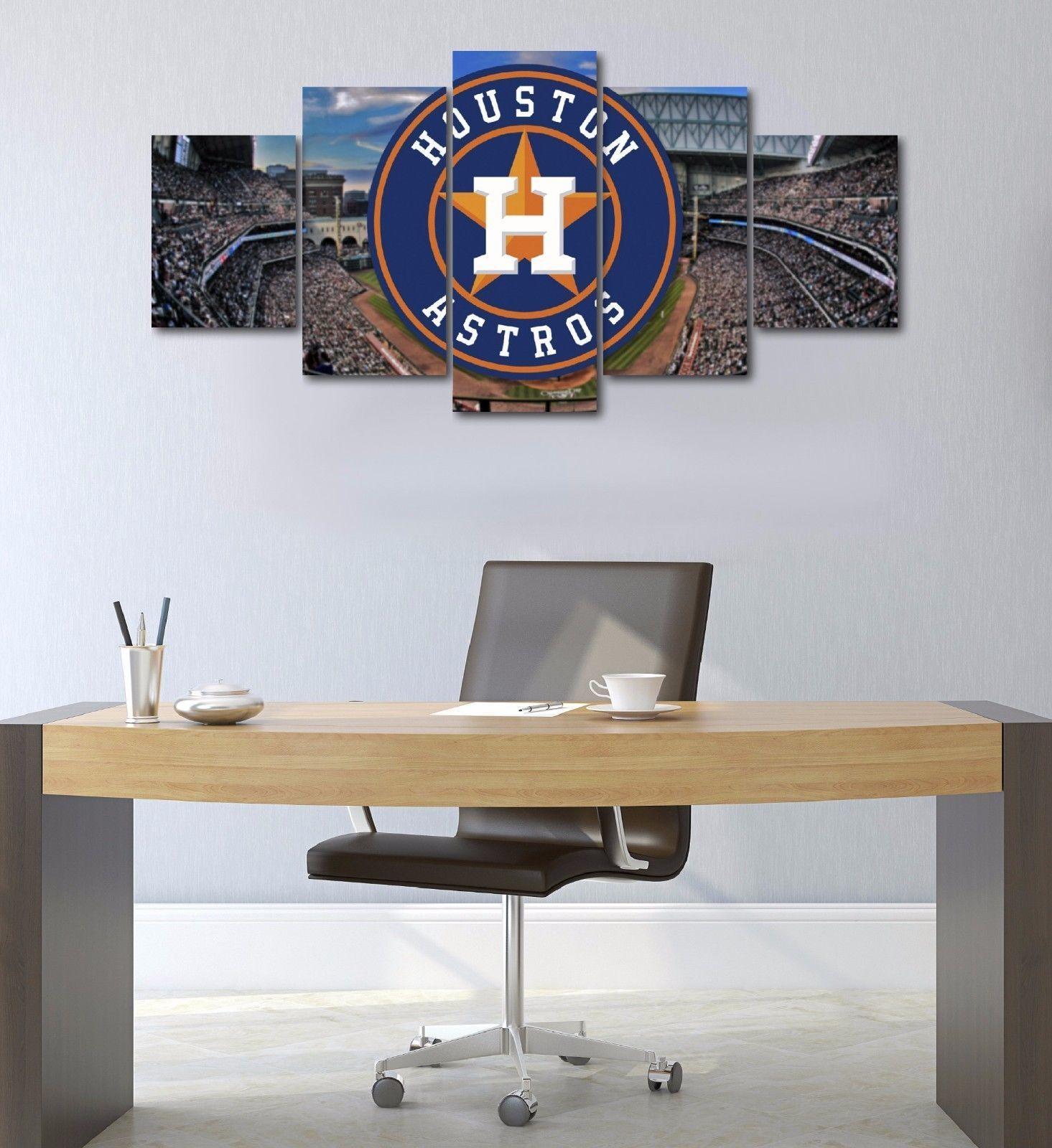 Framed 5 Panel Houston Astros Baseball Stadium Canvas Art