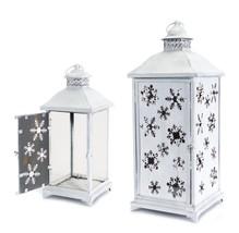 Melrose 2 Large White Snowflake Iron Glass Christmas Candle Lanterns - $155.17