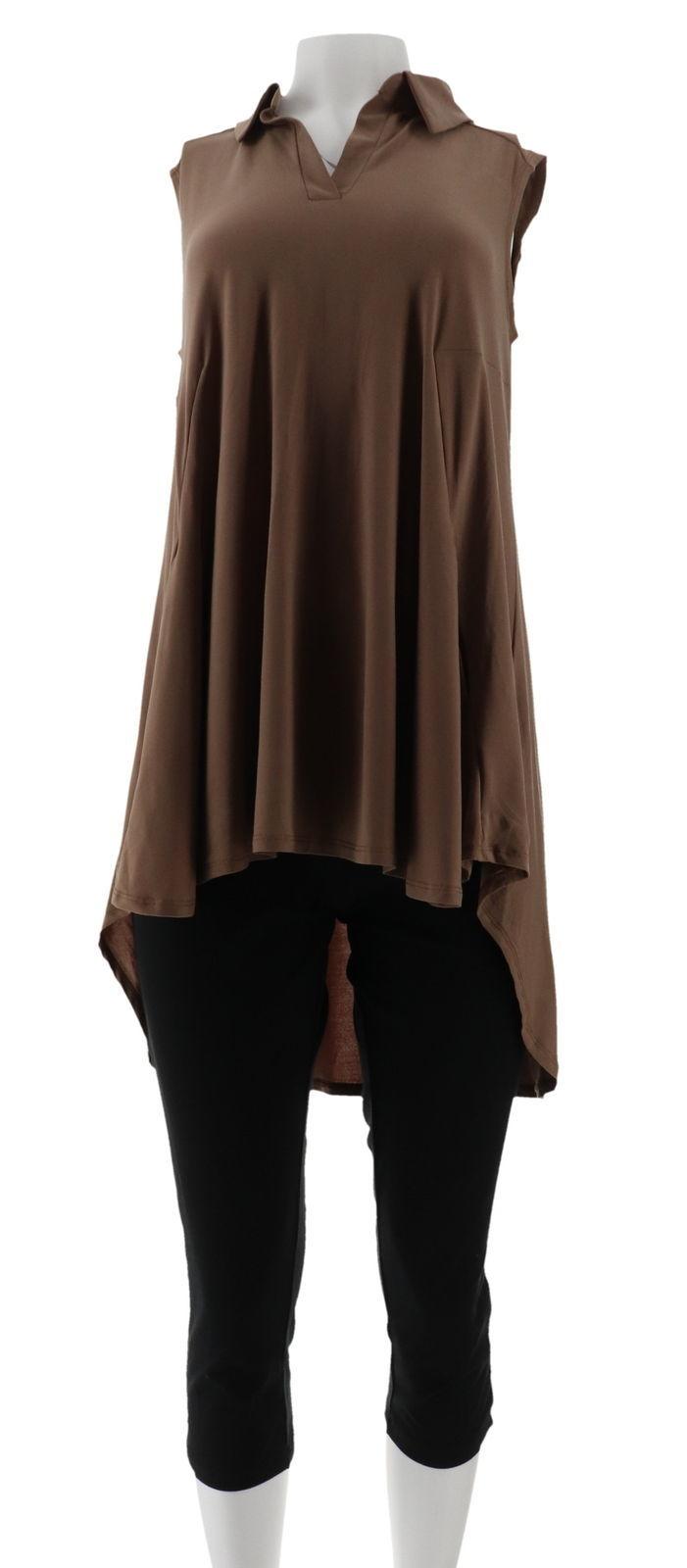 Women with Control Como Tunic Crop Pants Set Safari Taupe PS NEW A305909