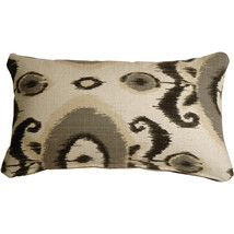 Pillow Decor - Bold Gray Ikat 12x20 Decorative Pillow - $59.95