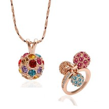 S171 Plated Pendant Necklace Ring Fashion Jewelry Set - $14.03