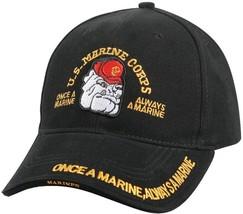 FBlack US Marine Corps Bulldog Deluxe Low Profile Adjustable Cap - £13.86  GBP 16256904058