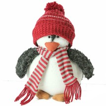 "Northlight 9"" Plush Christmas Penguin in Striped Scarf and Red Knit Bean... - $16.57"