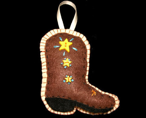 Primary image for  Western Country Handcrafted Felt Boot Christmas Ornament