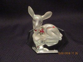 Fenton Glass 1992 Crystal Carnival Hand Painted Snowberry FAWN/DEER Figurine - $39.99