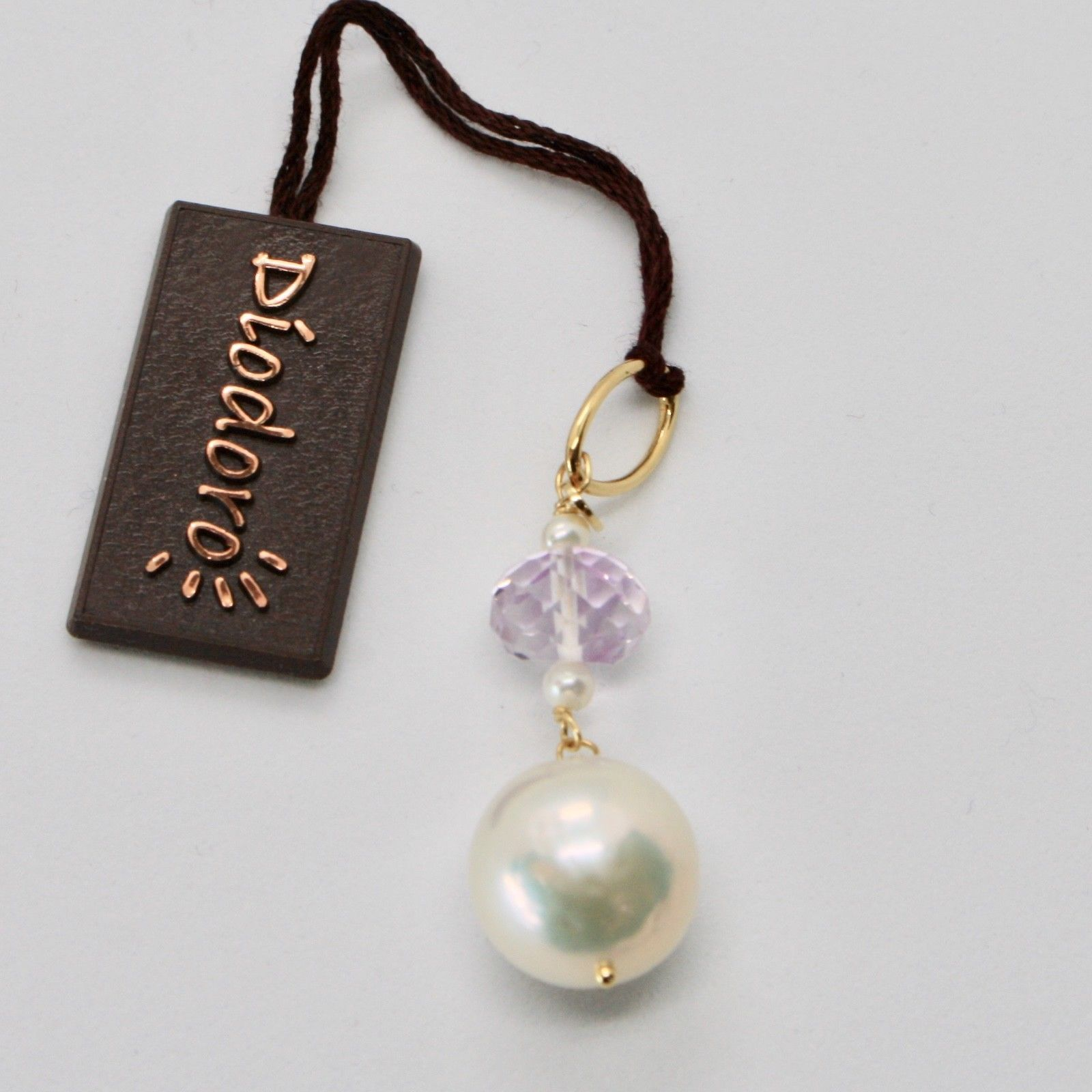 SOLID 18K YELLOW GOLD PENDANT WITH WHITE FW PEARL AND AMETHYST MADE IN ITALY