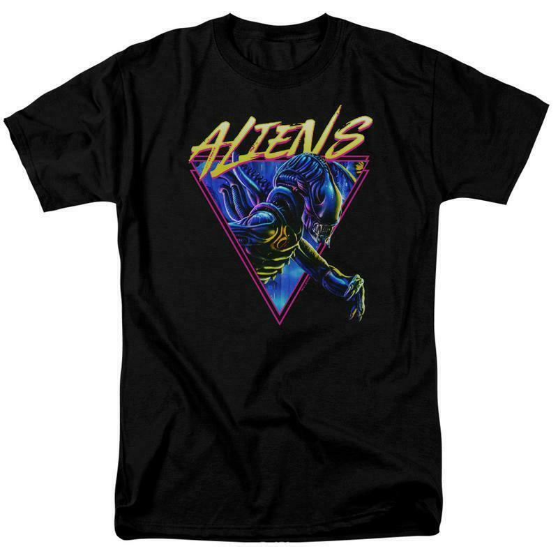 Aliens Movie T-shirt Horror Action Sci Fi Alien Black Tee Retro 70s 80s TCF731