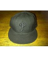 New Era 59fifty Philadelphia Phillies Philly Black Blackout Fitted Cap H... - $4.99