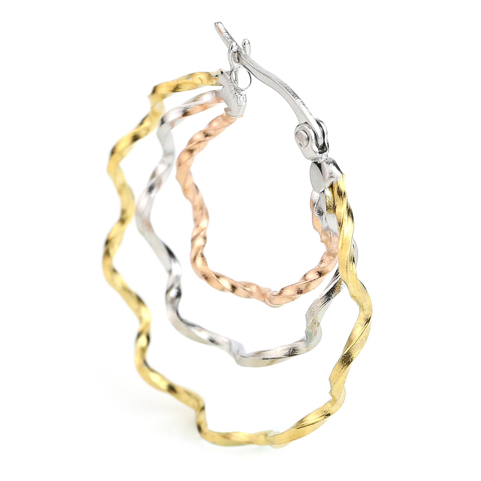 Whimsical Tri-Color Silver, Gold & Rose Tone Hoop Earrings- United Elegance image 2