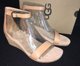 UGG Emilia Wedge Ankle Strap SANDALS Natural Leather Suede Cork 1016875 - $59.99