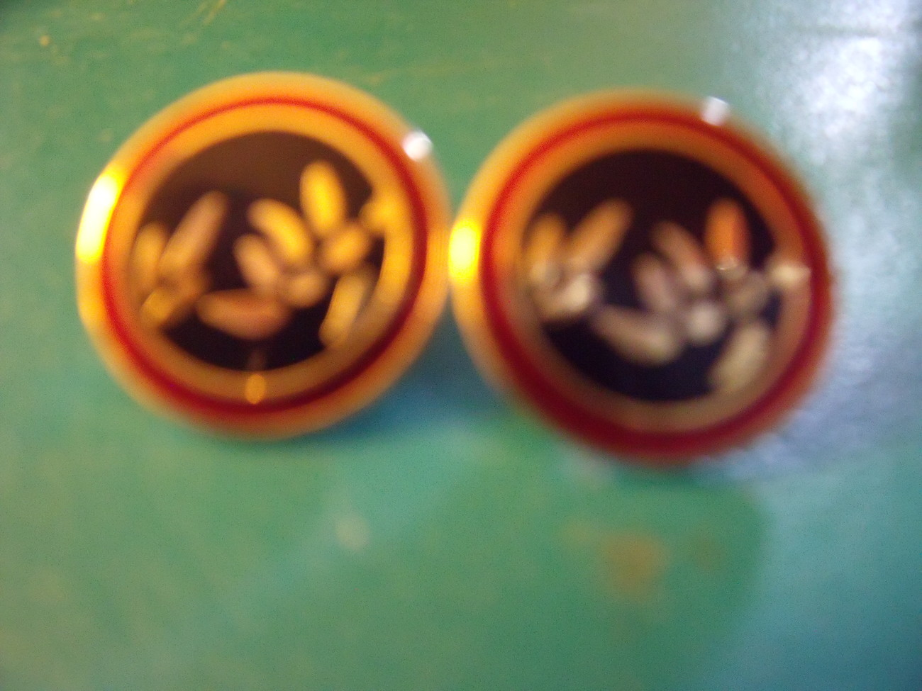 "Laurel Burch ""Bamboo"" Post Earrings in Black, Burgundy and Gold-Vintage - $30.00"