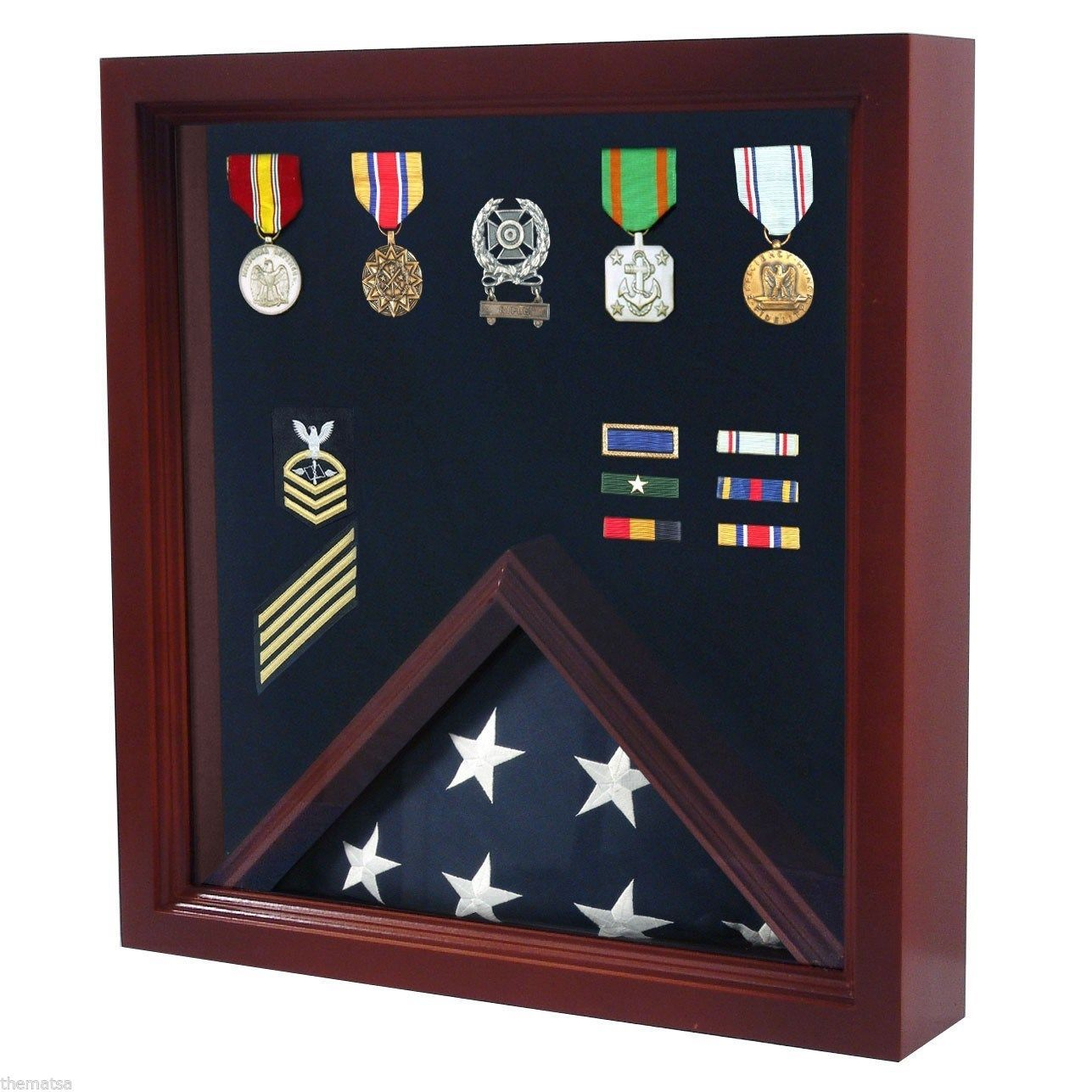Primary image for USA MADE SOLID WOOD CHERRY FINISH MILITARY FLAG MEDAL DISPLAY CASE SHADOW BOX